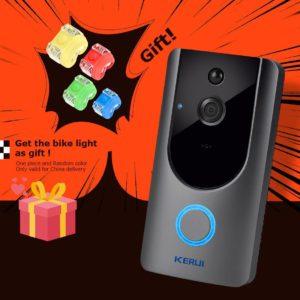 KERUI 720P Video Doorbell Camera Intercom Battery-Powered Doorbell Wireless Chime IP Wifi Home Security Camera Phone Sensor