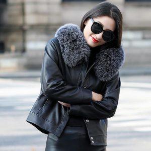 Genuine Leather Winter Jacket Women Fox Fur Collar Real Sheepskin Coat Korean Down Jackets Abrigo Mujer ZM-1803 MY1264