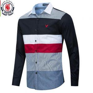 Fredd Marshall 2020 Spring New Patchwork Shirt Men Casual Social Long Sleeve Dress Shirt Male 100% Cotton Color Block Shirts 215