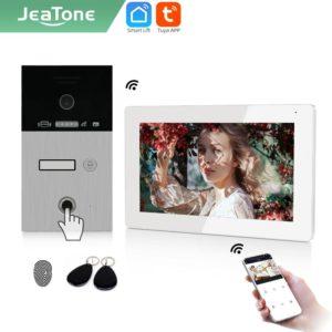 "Jeatone TUYA 7""IP WIFI wireless Video Intercom for Apartment 1F/2F/3F Monitor Doorbell outdoor unitd with Fingerprint /RFIC card"