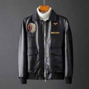 MIAMOOM  Embroidered Leather Men's Short Jacket Motorcycle Lapel Men Soft Leather Jacket