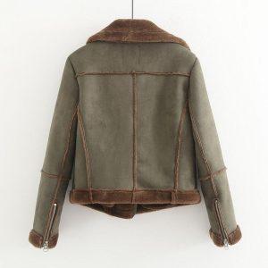 MUMUZI Faux Fur thick Parkas Winter warm fashion Outerwear Women 2019 Streetwear faux Sheepskin Coats female army Green Jackets