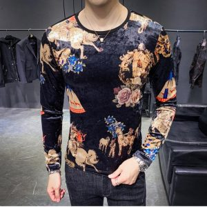 men t shirt  han edition cultivate morality men with short sleeves printed web celebrity pleuche male short wave B333 3577 P45