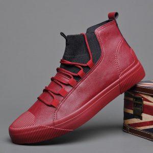 2019 Autumn New Men's Fashion Boots Korean Black High Top Shoes Men Wear-resisting Loafers Designer Leisure Vulcanized shoes
