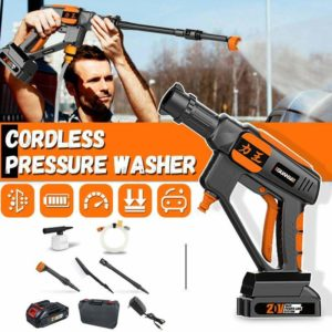 GUANXIN 20V 24-70Bar Cordless Wireless High Pressure Car Washer Cleaner for Car Cleaning Wash With Gun Nozzles Tip Pipe Filter