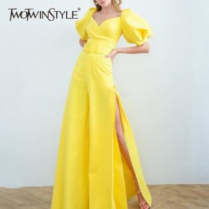 TWOTWINSTYLE Jumpsuits For Women Square Collar Lantern Half Sleeve High Waist Side Split Flare Pants Female Fashion 2019