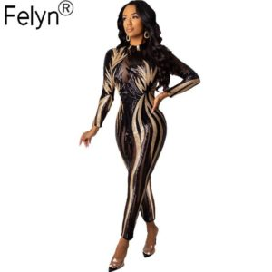 Felyn 2020 Ins Internet Celebrity Famous Jumpsuits Sparkly Sequins O-neck Long Sleeve Night Club Party Rompers DD8210