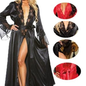 Womens Sexy Long Kimono Dress Lace Bath Robe Lingerie Gown Ice Silk Nightdress Solid Color Nightgown Nightwear Plus Size