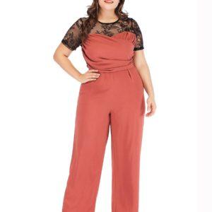 2019 Summer Plus Size Women Jumpsuits Sexy O-Neck Short Sleeve Lace Patchwork  Wide-Leg  Jumpsuits Office Lady Jumpsuits LFKF040