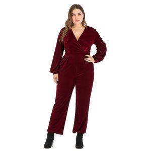 Fadzeco Women Plus Size Velvet Jumpsuit Autumn Winter Sexy V Neck Long Lantern Sleeve Solid Wide Leg Club Jumpsuit Women Rompers