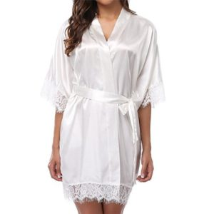 Sexy Wedding Dressing Gown Women Short Satin Bride Robe Lace Silk Kimono Bathrobe Summer Bridesmaid Nightwear Plus Size Peignoir