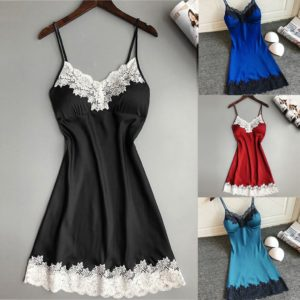 2S#Women Ladies Sexy Silk Satin Night Dress Sleeveless Nighties Nightgown Plus Size Nightwear Strap Lace Sleepwear Nightdress