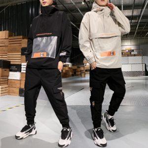2019 Men's Hooded Jacket+Pants 2PC Sets mal Workwear tide card loose Pullover front pocket coat& Long Pants mal Clothing M-4XL