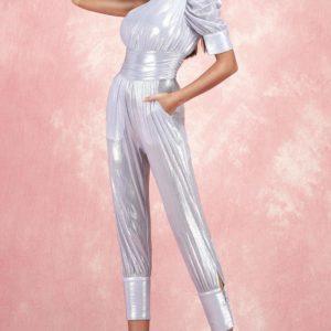 2019 New Women grey one shoulder off shoulder sleeveless Jumpsuit vestido Celebrity party Bandage Jumpsuits