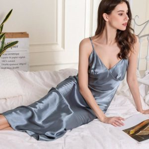 Women Satin Nightdress Sleepwear Summer New Suspender Skirt Sleepwear V-neck Nightgown Sexy Long Spaghetti Stap Night Dress