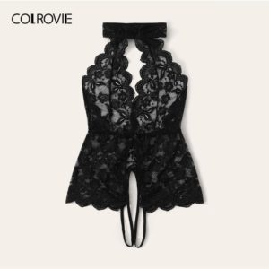 COLROVIE Black Floral Lace Scalloped Trim Cut-out Teddy Bodysuit Women 2019 New Stretchy Sexy Lingerie Sheer Solid Sleepwear