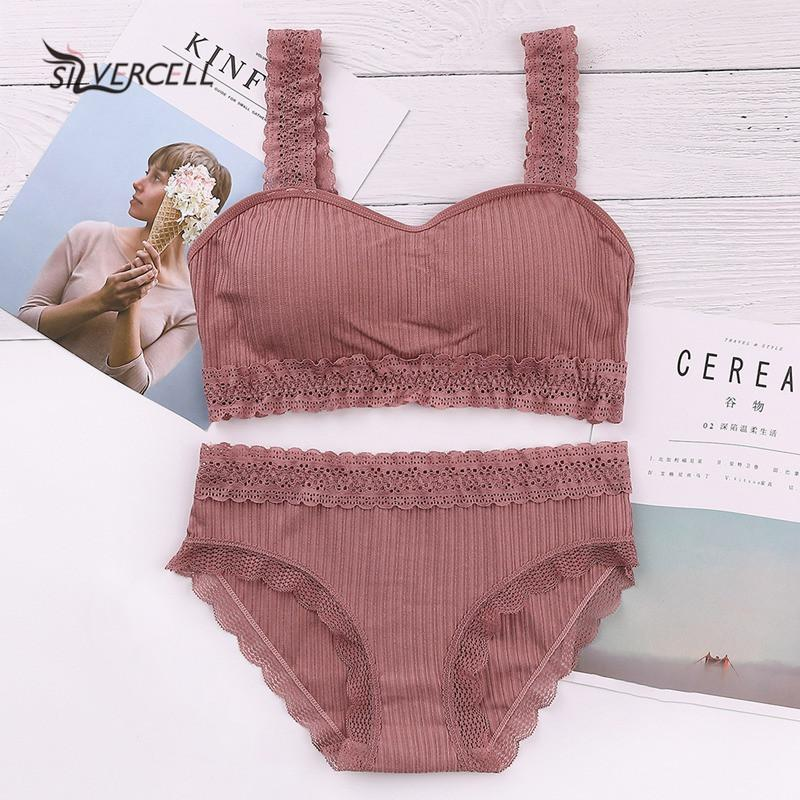 2019 New Ladies Lace Sweet Bra Set Cotton Seamless Tube Top Panties Breathable Wire Free Thread Lace Candy Colors Lingerie Set
