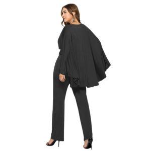 Fashion Women Plus Size Jumpsuit Plunge V Neck Batwing Sleeve Cape Back Long Pants Playsuit Rompers Black Office Ladies Outfits
