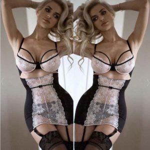 Women Ladies Solid  Lace Sexy-Lingerie Nightwear Underwear G-string Babydoll Lace Bra Sleepwear Dress