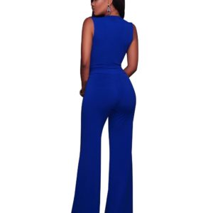 Loose Sleeveless Jumpsuit Romper Plus Size Solid V Neck Body Suits for Women One Piece Blue Playsuits