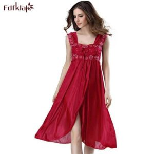 Summer Dress 2019 Lace Sleeveless Lingerie Sexy Women Nightwear Silk Night Gowns Satin Nightgown Sleepwear Red/Black Pink Q134