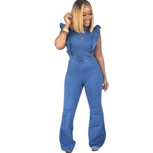 Summer new women's denim jumpsuit fashion sexy hollow backless blue jumpsuit ladies denim wood ear sleeves long trumpet jumpsuit