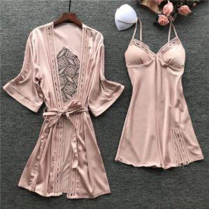 Women Satin Lace Pink Intimate Sleepwear Set 2PCS Nightgown Sexy Lady New Robe Set Brides Bridesmaid Wedding Robe Gown M-XL