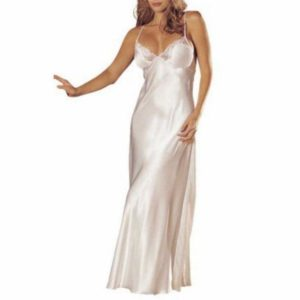 1PC Women Elegant Sleepwear Silk Long Section Sleeveless Solid Sexy Deep V-neck Sling Nightdress Sleepwear 2 Clours