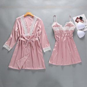 Sexy Lady Lace 2PCS Sleepwear Burgundy Women Rayon Robe Set Summer Nightgown Intimate Nightclothes Kimono Bathrobe Gown