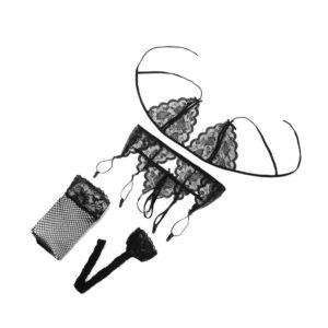 4pcs Sexy Lingerie Set Temptation Lace Push Up Transparent Bra Set Erotic Women Underwear Bras & G-String & Net Socks & Sling