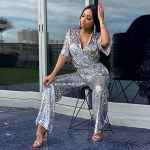 Fashion Silver Sequin Shining Celebrity Evening Party Jumpsuit Women Vestidos High Quality Long Jumpsuit Wholesale 2019