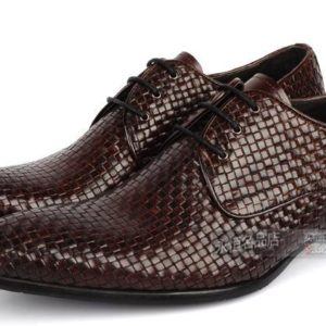 Knitted Leather Mens Fashion Business Office Dress Shoes Italian Oxfords Derby Shoes Pointed Toe Wedding Party Formal Oxfords