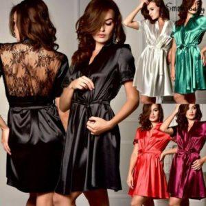 2019 Summer Hot Sale New Sexy Style Womens Short Robes Lace Silk Stain Nightdress Lingerie Pajamas Nightwear Sleepwear Imcute