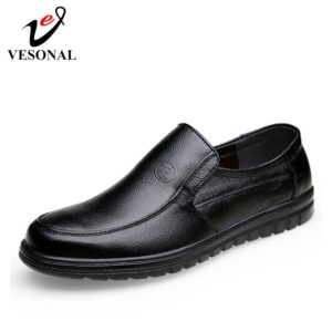 VESONAL 2019 Summer comfortable Slip-On Genuine leather Loafers For Men Shoes Moccasins office Business Dress formal Male shoes
