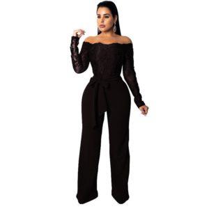Elegant Off Shoulder Floral Lace Jumpsuit Women Sexy Sheer Long Sleeve Black Wide Leg Jumpsuit Christmas Party Playsuit Overalls
