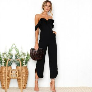 Elegant Ruffle Strapless Black Jumpsuits Wide Leg Off Shoulder Backless Rompers Womens Jumpsuit Office Lady Overall Summer Femme