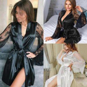 2019 Sexy Hot Women Through Mesh Lingerie Bath Robe Contrast Color Eyelash Floral Lace Patchwork Nightgown Satin Belt Sleepwear