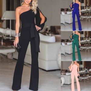 Elegant Women Jumpsuit Solid Long Sleeve Cold Shoulder Casual Jumpsuit High Street Clubwear Wide Leg Pants Office Wear mono#ssw