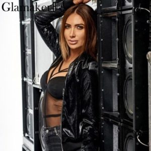 Glamaker Mesh black sexy teddy bodysuit Women club night strap bodysuit Female autumn bandage bodysuit one-pieces 2019 jumpsuit