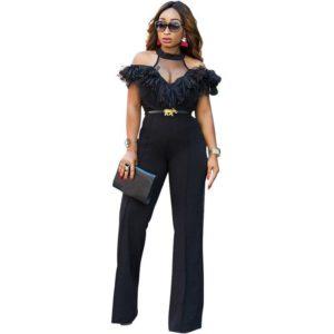 2017 Celebrity Runway Black Dressy Jumpsuits for Women Sexy V-Neck Halter Cold Shoulder Ruffles Wide Leg Pants Bodycon Bodysuits