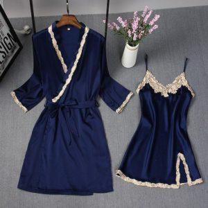 Spring Summer New Women Robe Suit  Bride Wedding 2pcs Kimono Bathrobe Gown Sexy Elegant Nightdress Lady Casual Daily Sleep Dress