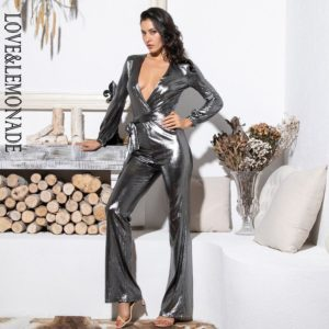 Love&Lemonade  Sexy V-Neck Silver Reflective Long Sleeve Going Out Jumpsuit LM81646-1