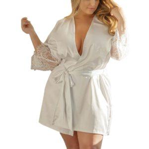Women sleepwear Sexy Silk Kimono Dressing Gown large size Babydoll Lace Lingerie ladies fancy Bath Robe Nightwear tenu lingerie
