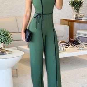 Wide Leg Jumpsuit 2019 Summer O Neck Green Sleeveless Jumpsuit Vacation Elegant Long Playsuit  Office Lady Vintage Overalls