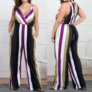 Fashion Womens Jumpsuit Casual Plus size Stripe Print Camis Sleeveless Loose Jumpsuit rompers female summer Jumpsuit 7.10