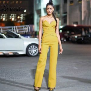 2020 Summer Hot New Arrival Jumpsuit Sexy Strapless Sleeveless Celebrity Party Yellow Jumpsuit