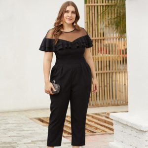 2019 Fashion Summer  V-Neck Sleeveless Rompers Belt Plus Size playsuits Regular Casual Long Jumpsuit Hollow Out  Polyester Solid
