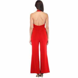 Summer Off Shoulder Sexy Maxi Jumpsuit Women Deep V Halter Ruched High Waist Red Jumpsuits Big Size Wide Leg Pants Female 2019