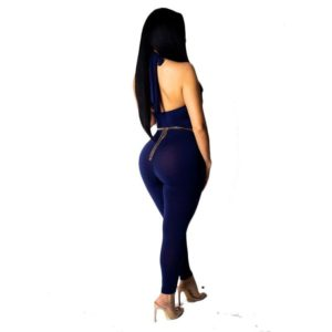 Off The Shoulder Sexy Bandage Jumpsuit Women Pink Halter Front Hollow Out Skinny Bodysuit Summer Blue Backless One Piece Romper