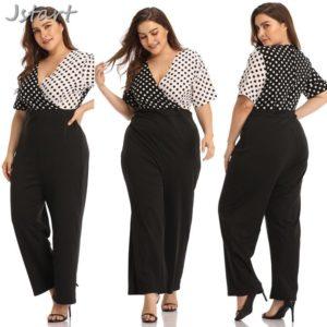4XL Plus Size Autumn Summer Women Jumpsuits Dot V-Neck Large Size Rompers Big Size Female Clothes Fake Two-piece Suit